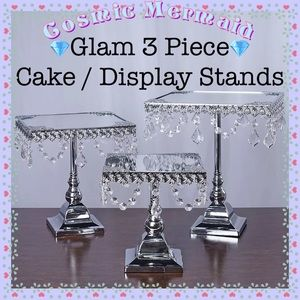 Other - 3PC SET🆕⭐️SILVER CRYSTAL CAKE PEDESTAL DISPLAY⭐️